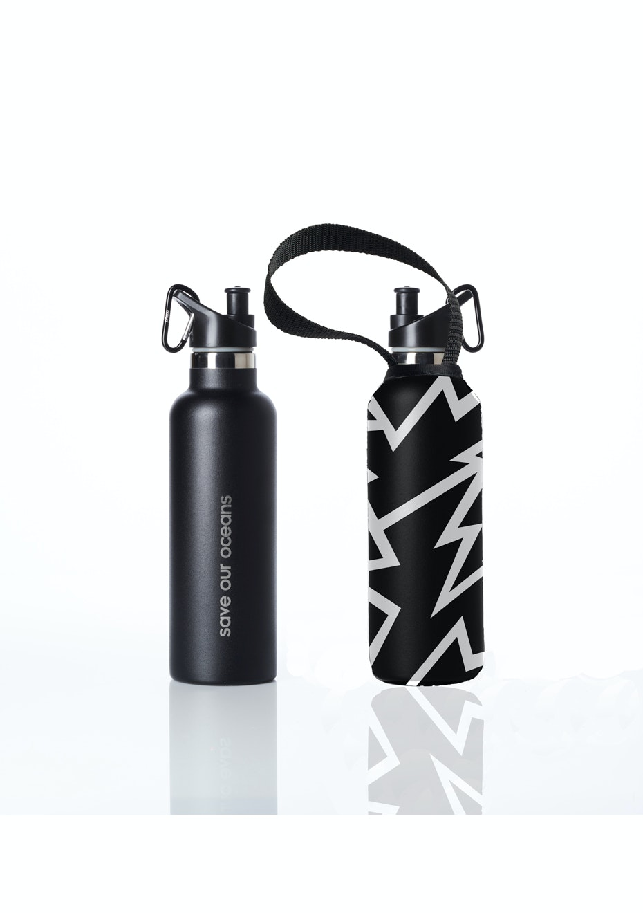 BBBYO - Thermal Traveller Bottle+ Carry Cover (Shok Print)- sports cap - 750 ml Black