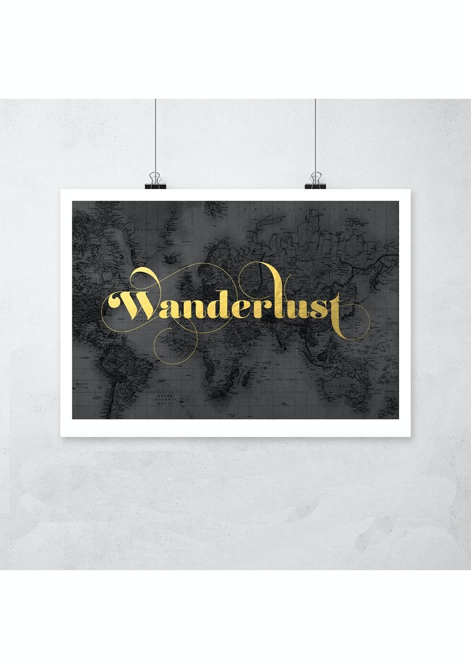 Simply Creative - Wanderlust - A3 Gold Foil Print