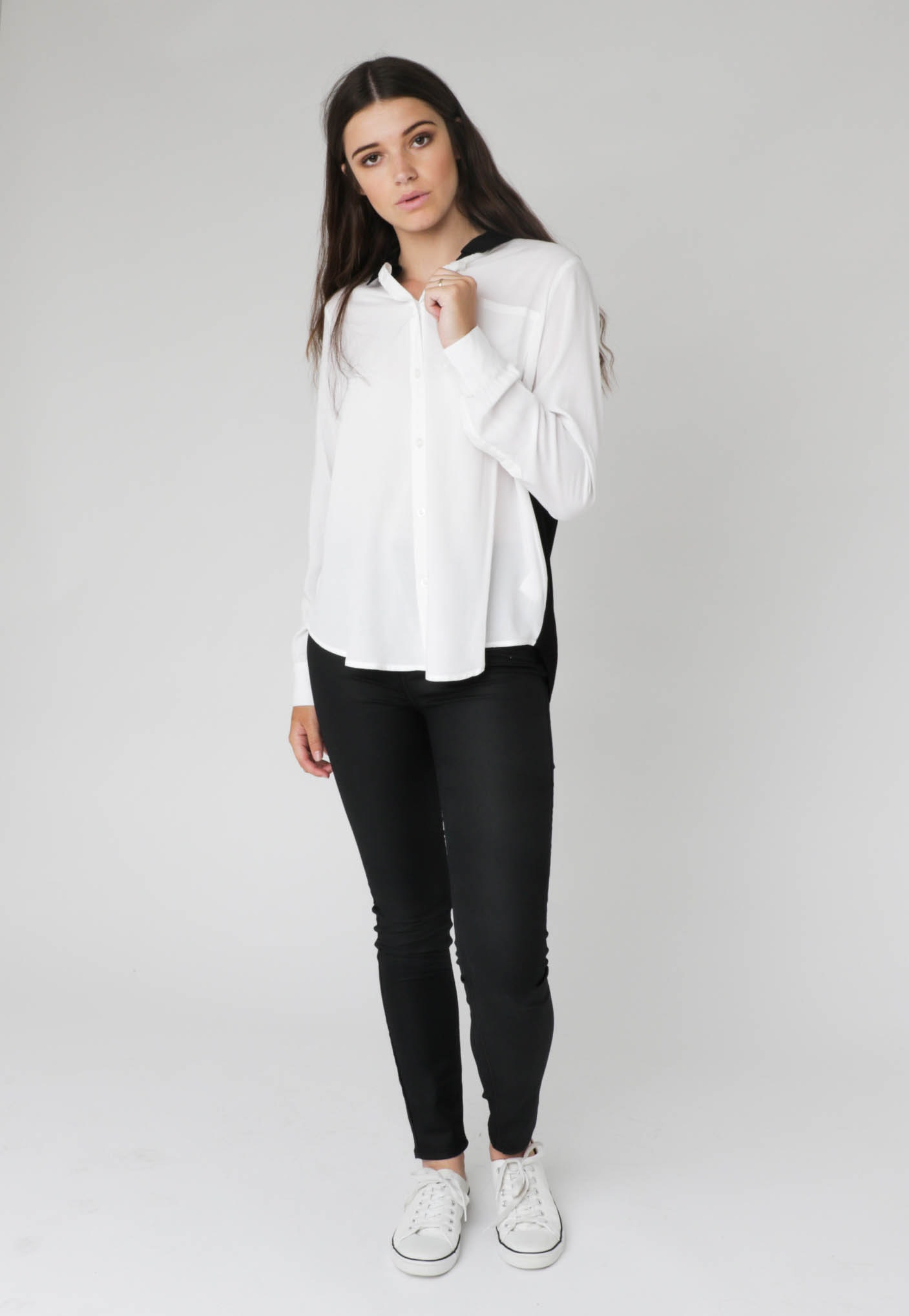 All About Eve - Straight Down the Line Shirt - White & Black