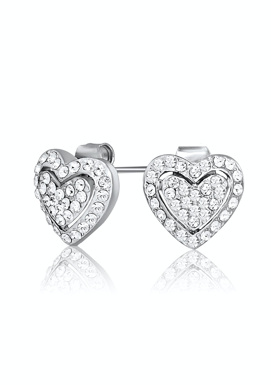 Deluxe Heart Earrings Embellished with Crystals from Swarovski