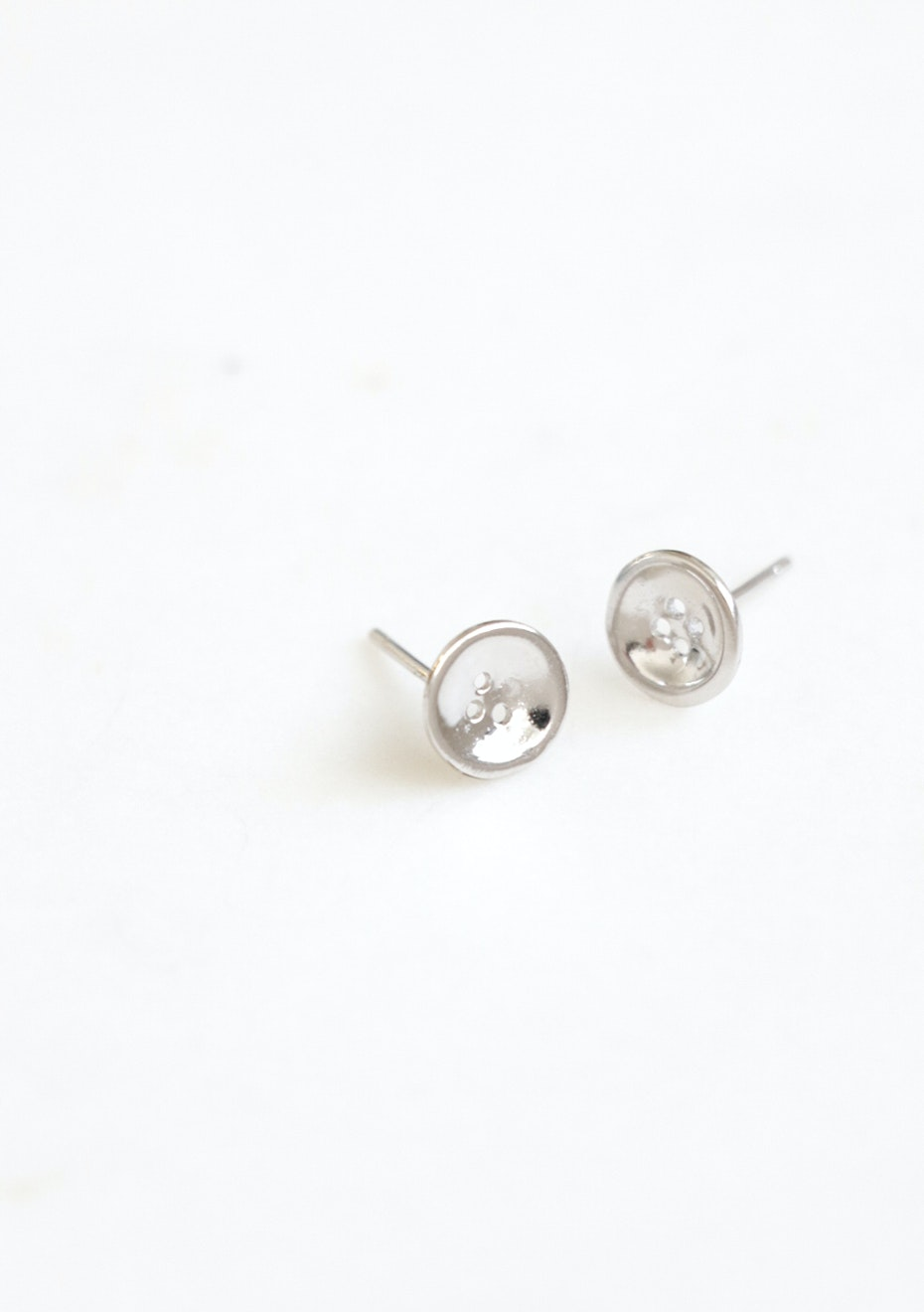 Button Stud  - 925 Silver