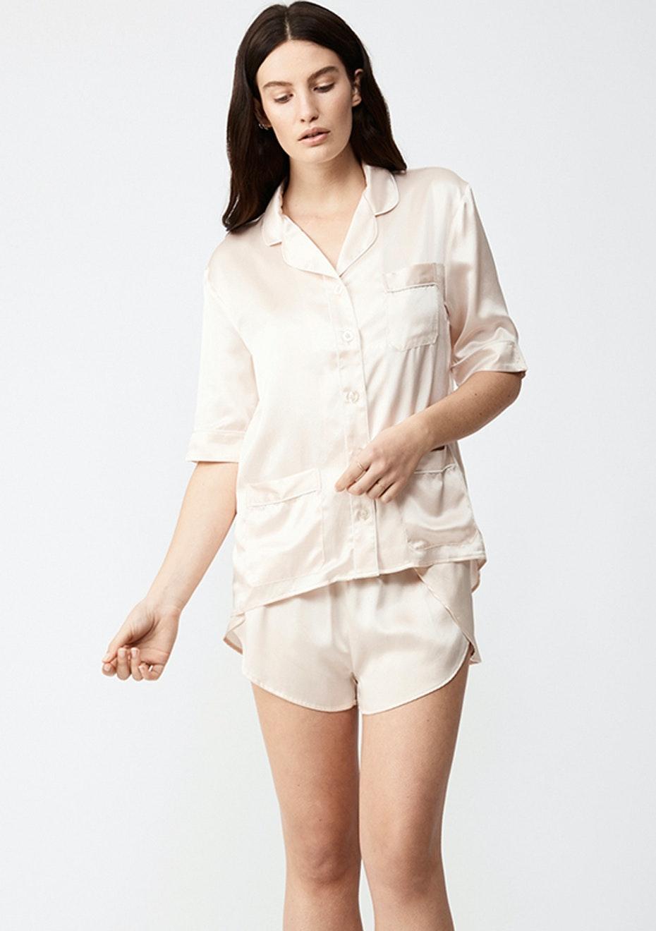 NATALIJA - Short-Sleeve Silk Pj Shirt - Champagne