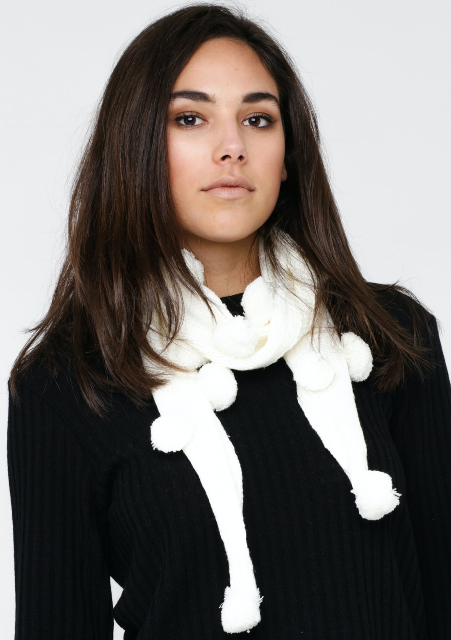Pom Pom Knit Scarf - White