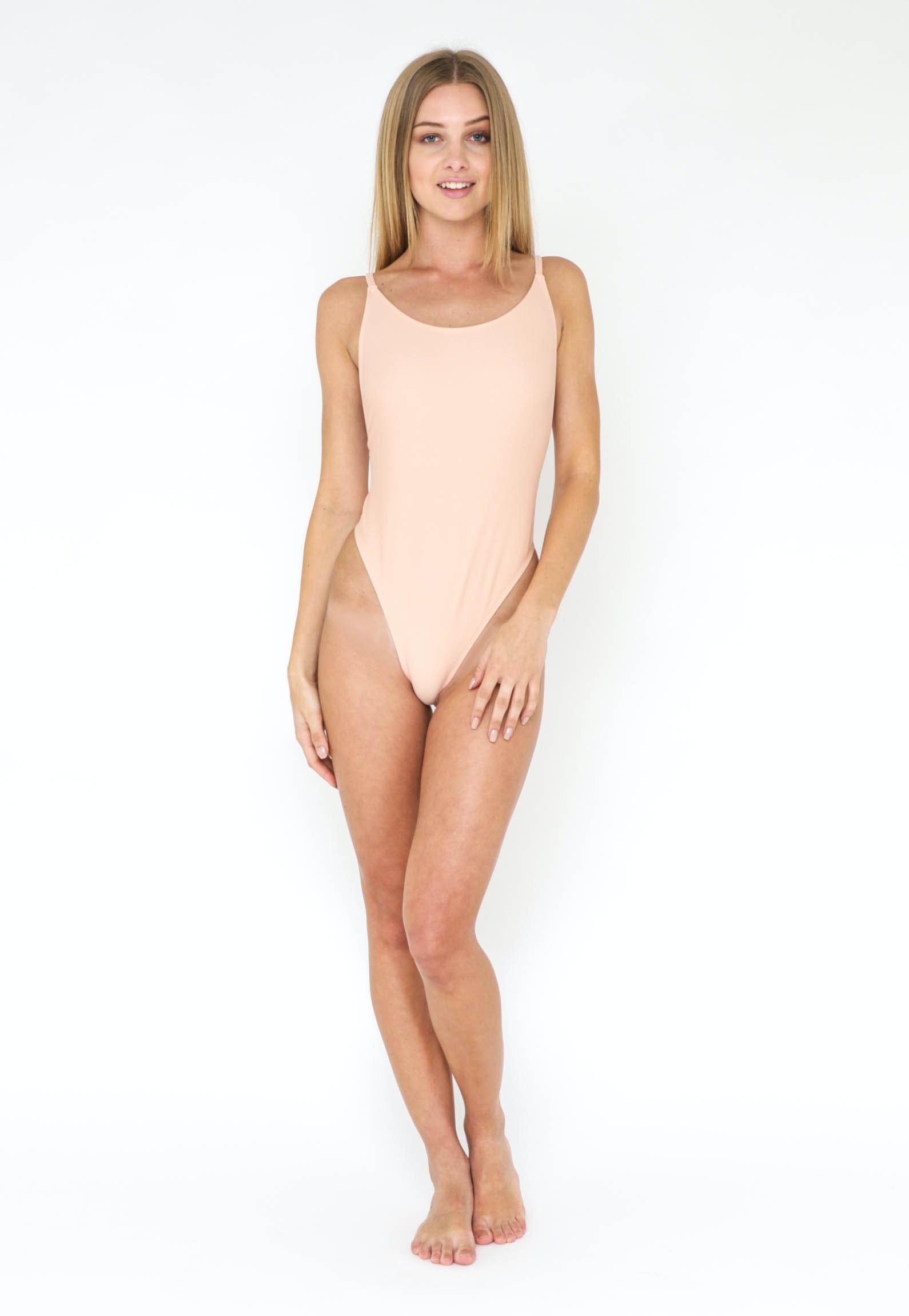 High Cut Low Back Swimsuit - Beige