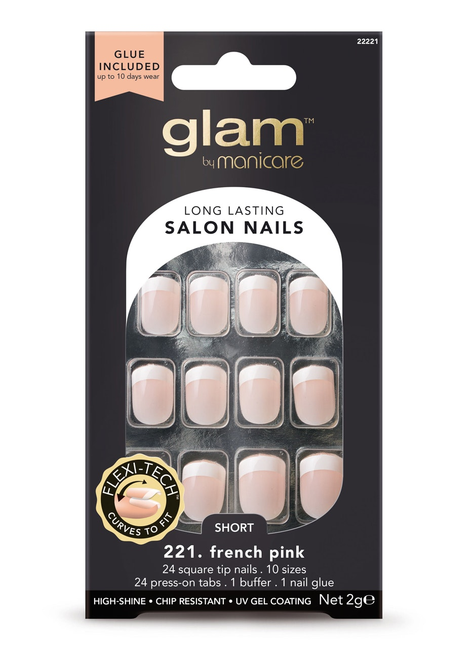 Manicare Glam  - Glue-On Nails French Pink Short SQ. 2G