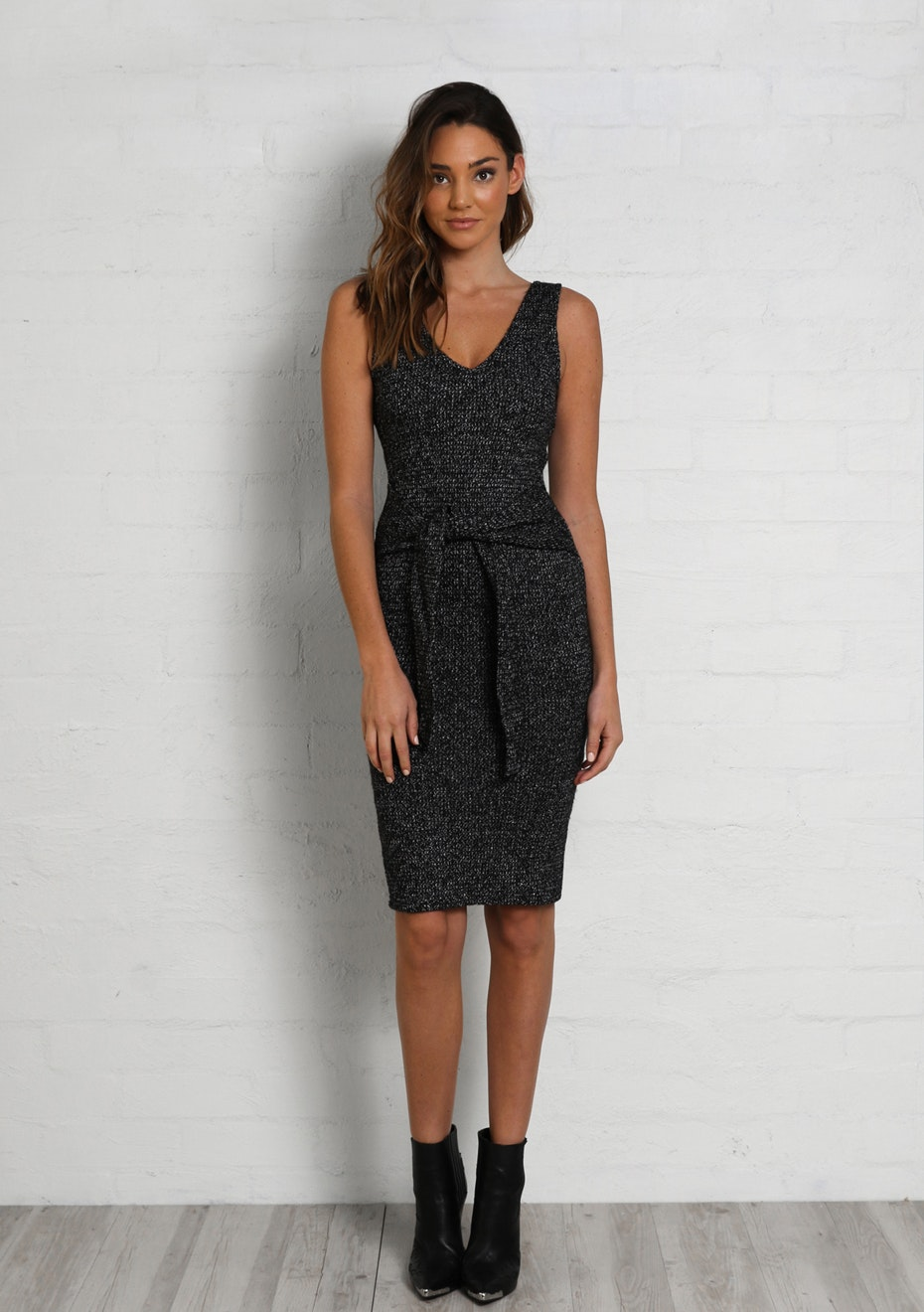 Madison - SANSA TIE DRESS - BLACK