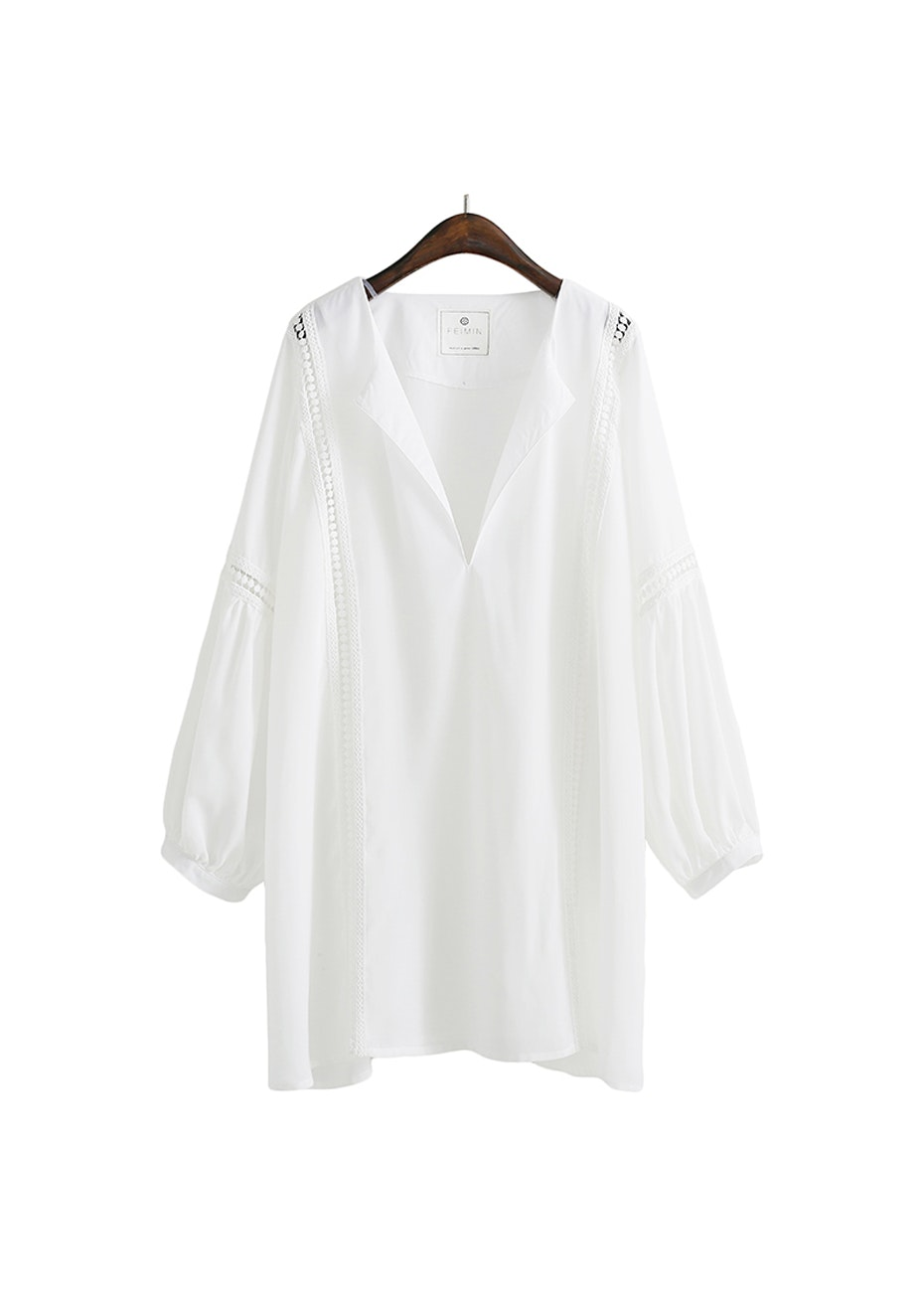 Ally Lace Trim  Tunic  - White