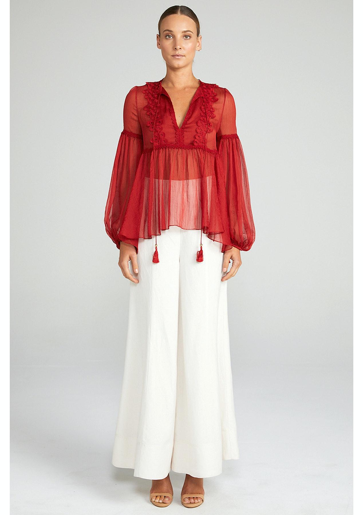 43bf3096e66c31 Shona Joy - Catherine Puff Sleeve Blouse - Burnt Red - New Season Shona Joy  - Onceit