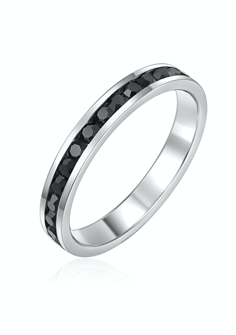 Stackable Ring - White Gold w Black Embellished with Crystals from Swarovski