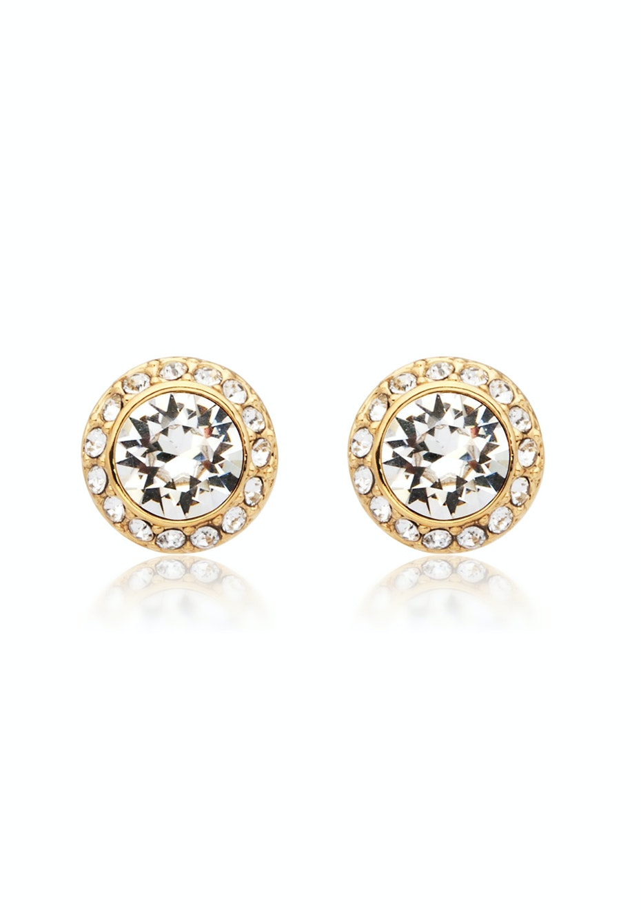studs w pave surround Embellished with Crystals from Swarovski -GOLD