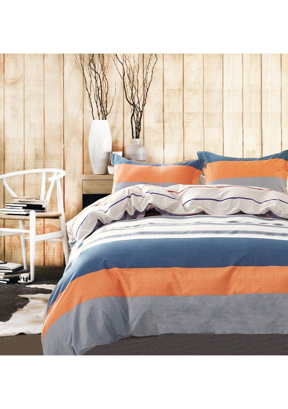 Nelson Bay Quilt Cover Set - Reversible Design - 100% Cotton - Single Bed