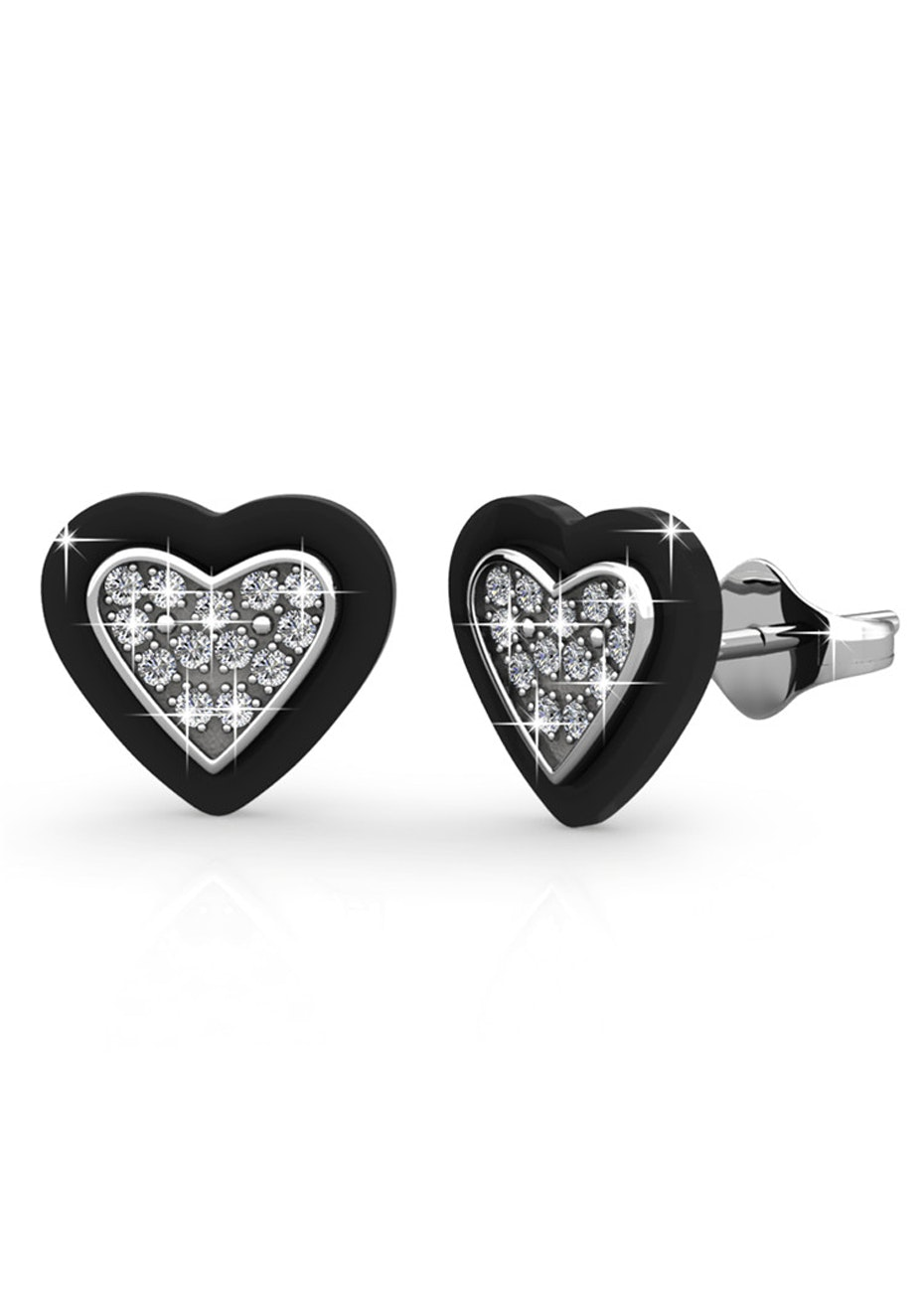 Black and White Gold Earrings Embellished with Crystals from Swarovski