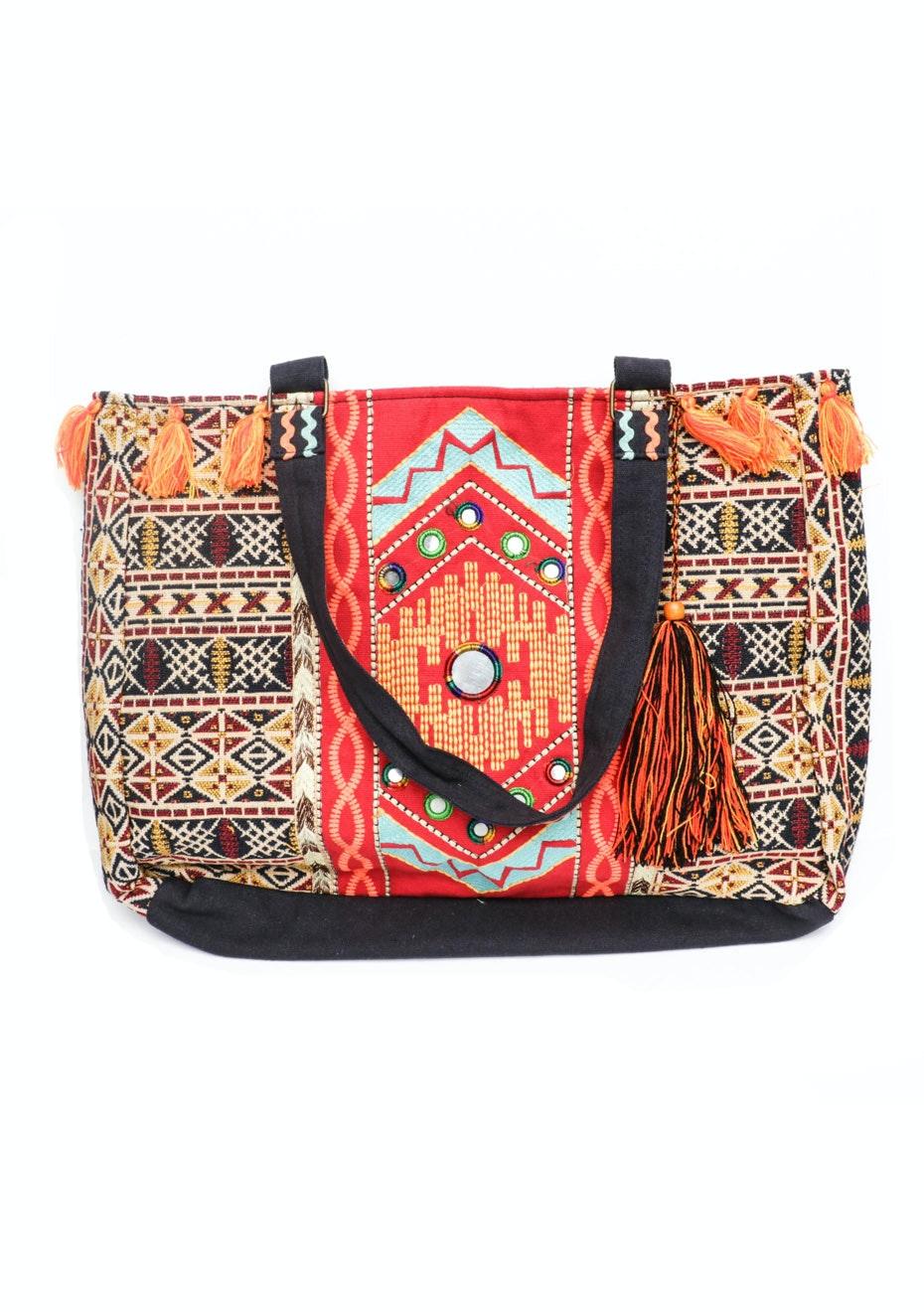 Handbag - Orange Design With Orange Tassles