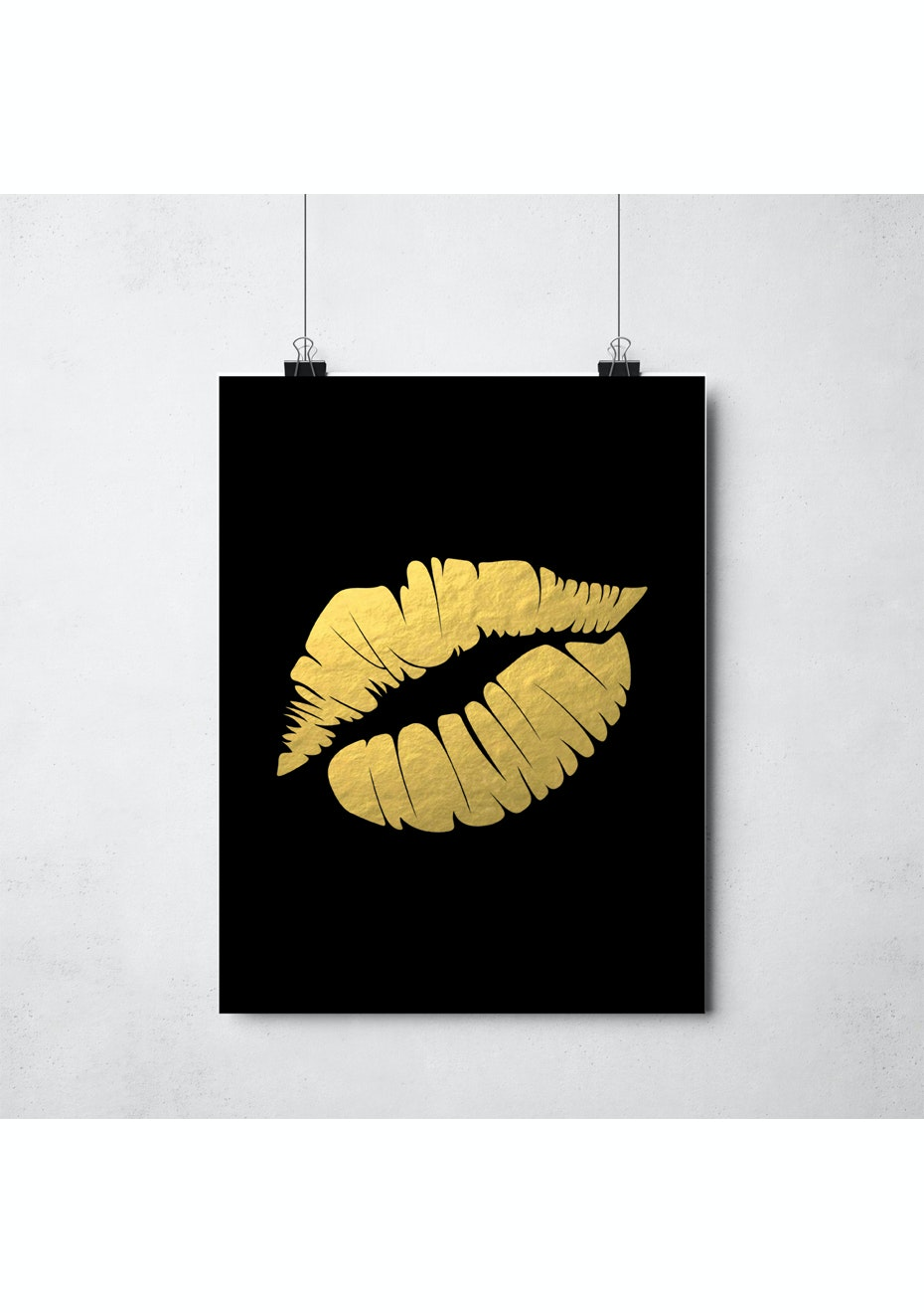 Simply Creative - Mwah - Black - A3 Gold Foil Print