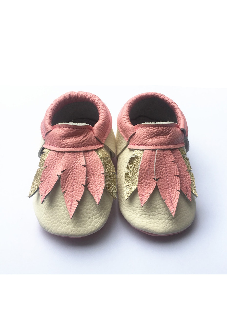 Baby  Leather Shoes - Pink/Cream/Gold