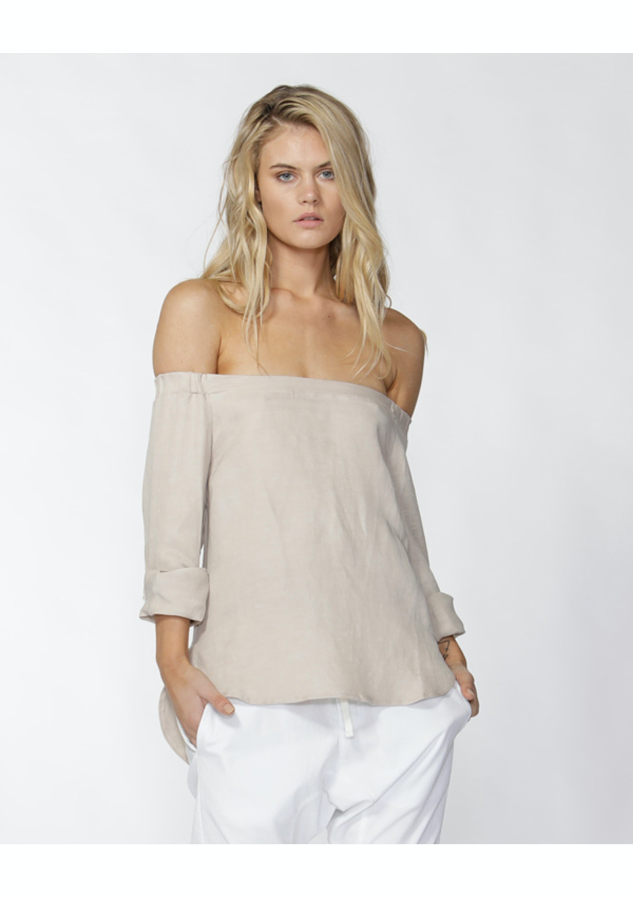 893ac12cacdb00 Fate - Etenia Off Shoulder Blouse - Sand - Free Shipping Price Drop Betty  Basics & Sass - Onceit