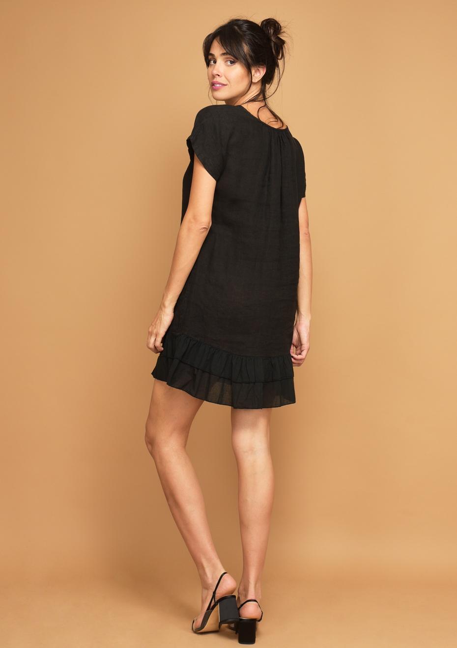de negro descuentos La Laure Fabrique Más Onceit Luxe lino 100 Du Vestido Lin 4U4Xqx6wR