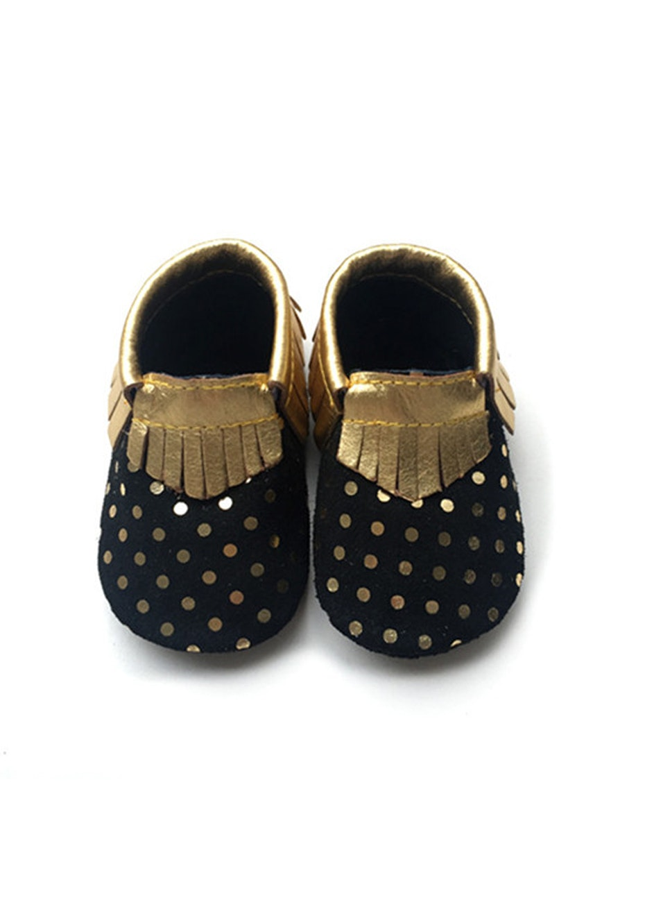 Baby  Leather Shoes - Black/Gold Dot