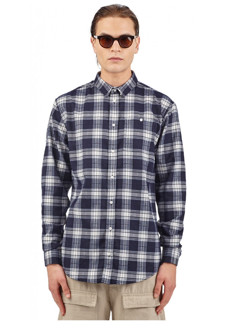 I Love Ugly - Casual Check Shirt - Midnight