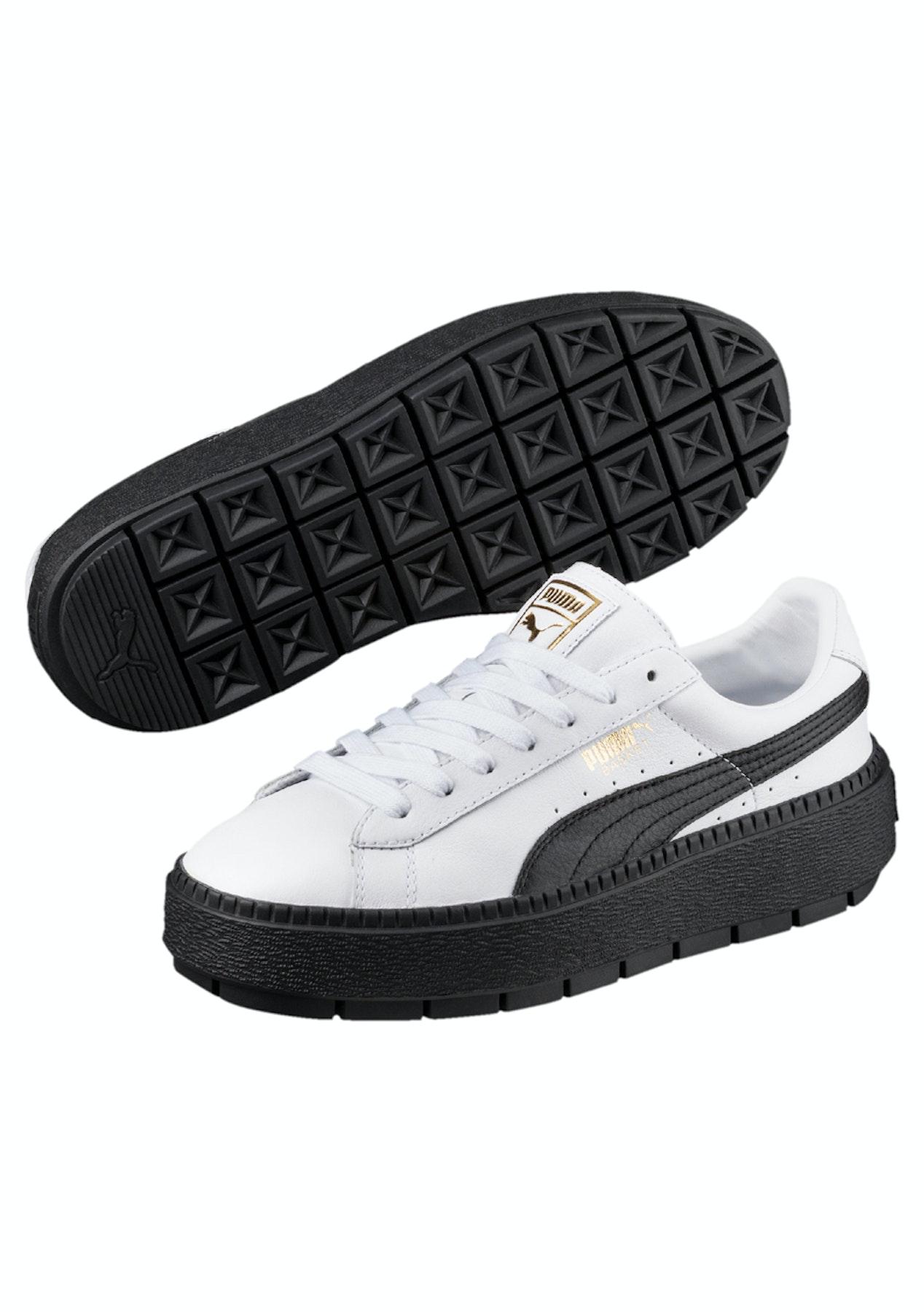 a2be3a6f31a7c8 Puma Womens - Basket Platform Trace - White - Black - Massive Puma Discounts  - Onceit