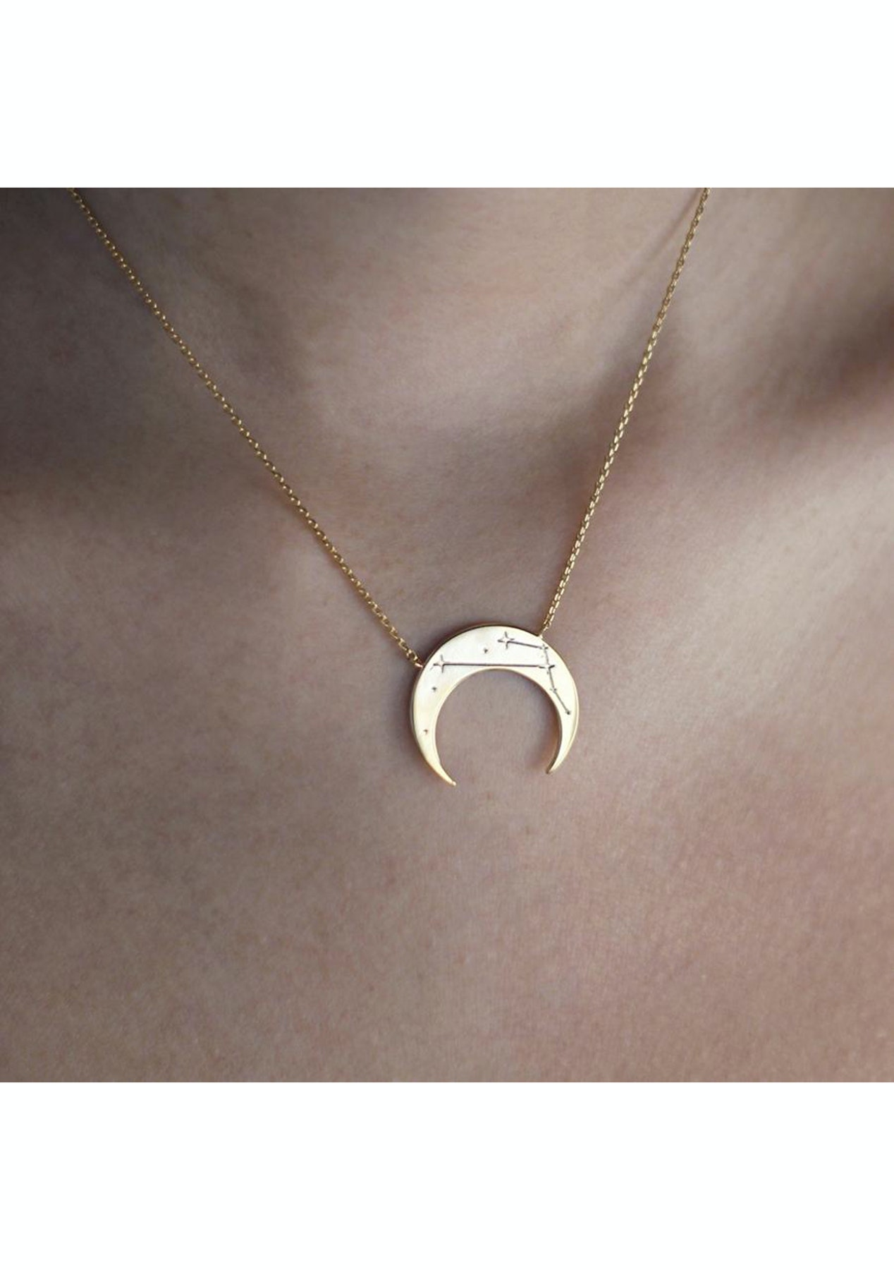 122d3e018376c8 Wanderlust + Co - Crescent Taurus Zodiac Gold Necklace - Wanderlust + Co.  Clearance - Onceit