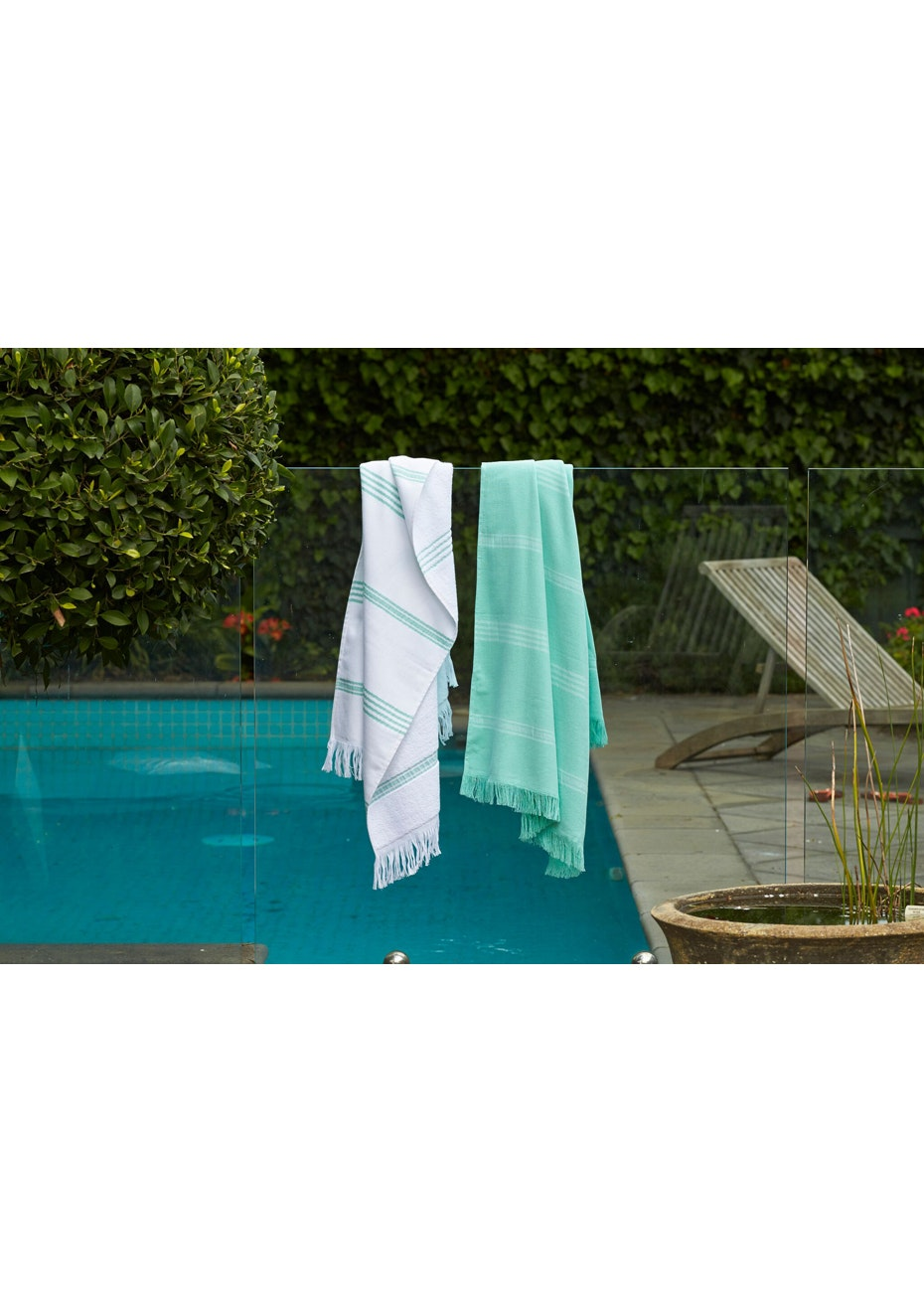 2 Pack Turquoise & White with Turquoise Stripe Turkish Towel Pack