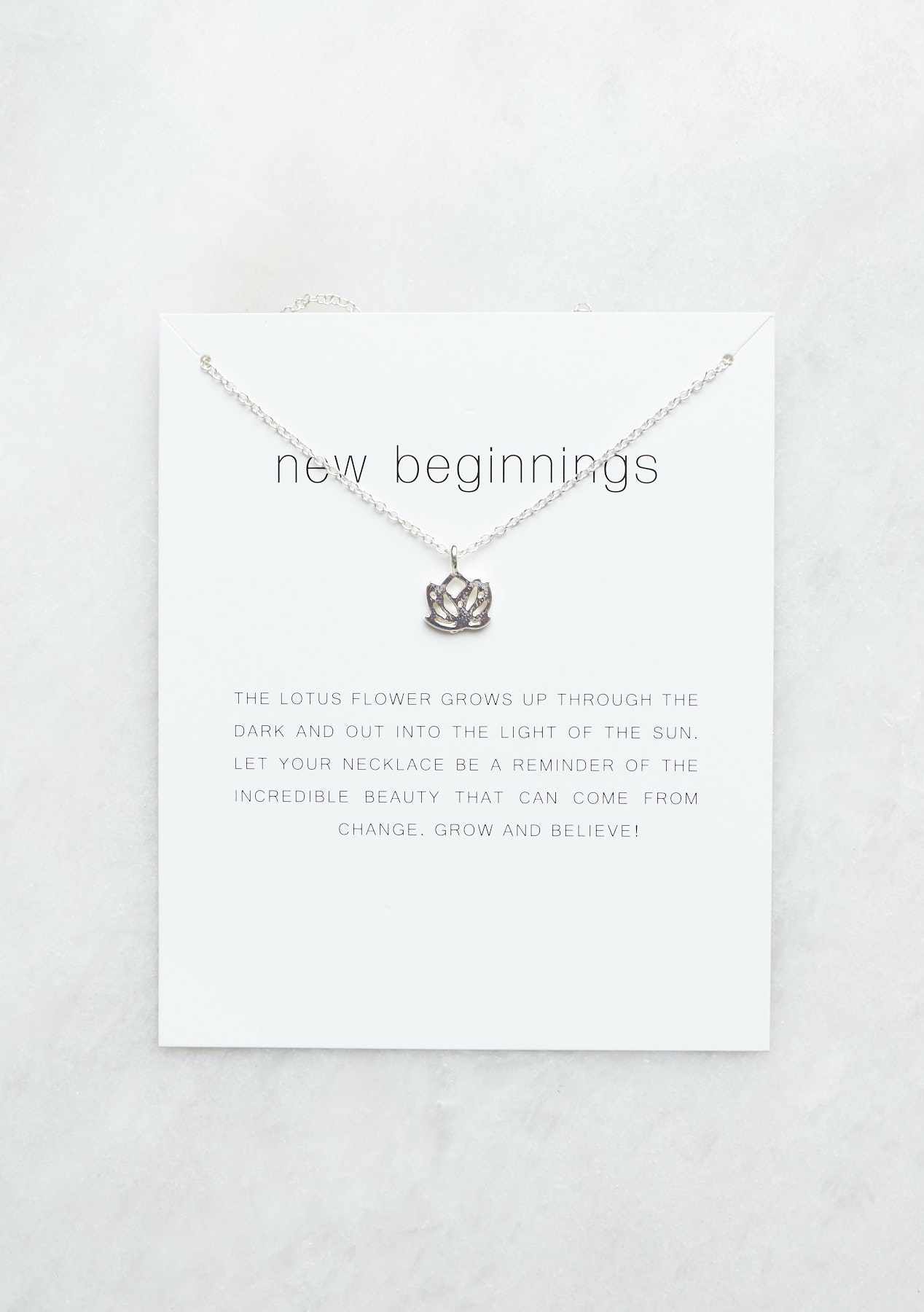 Lotus Flower Necklace Silver Tone Same Day Shipping Mothers Day