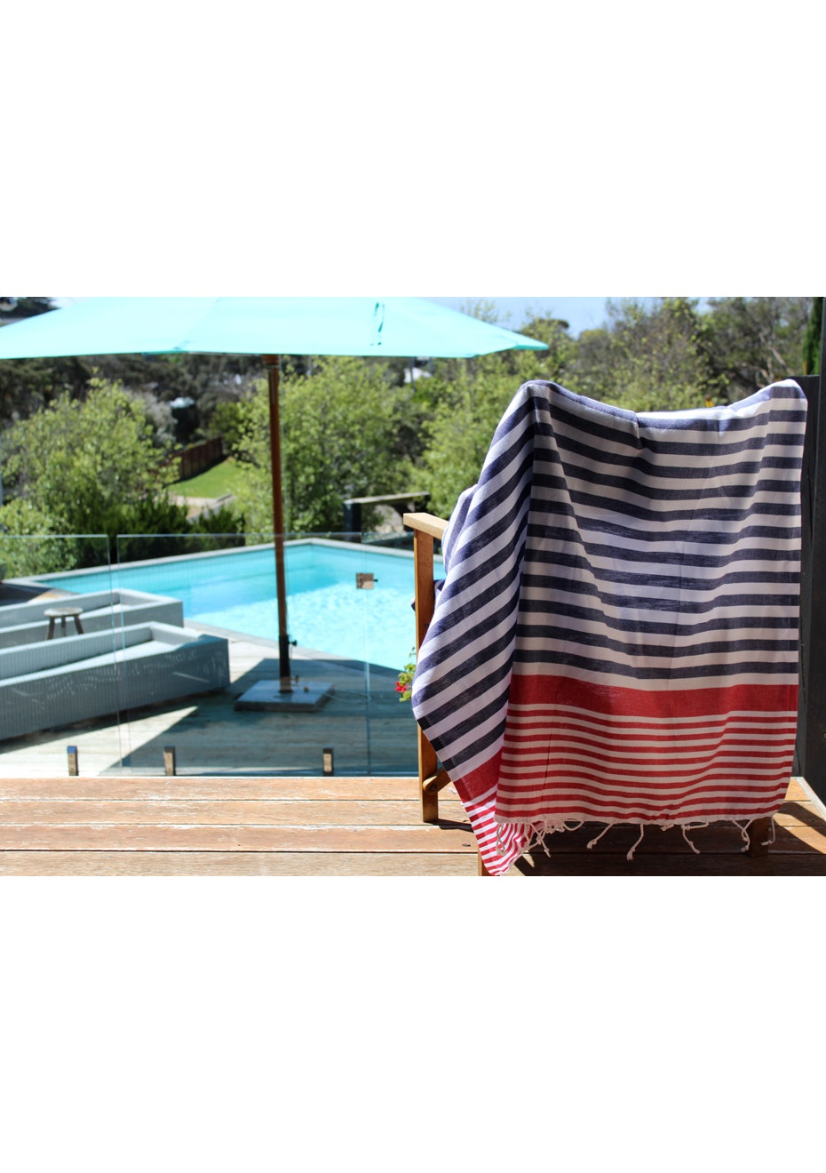 Galia Navy Red Turkish Towel