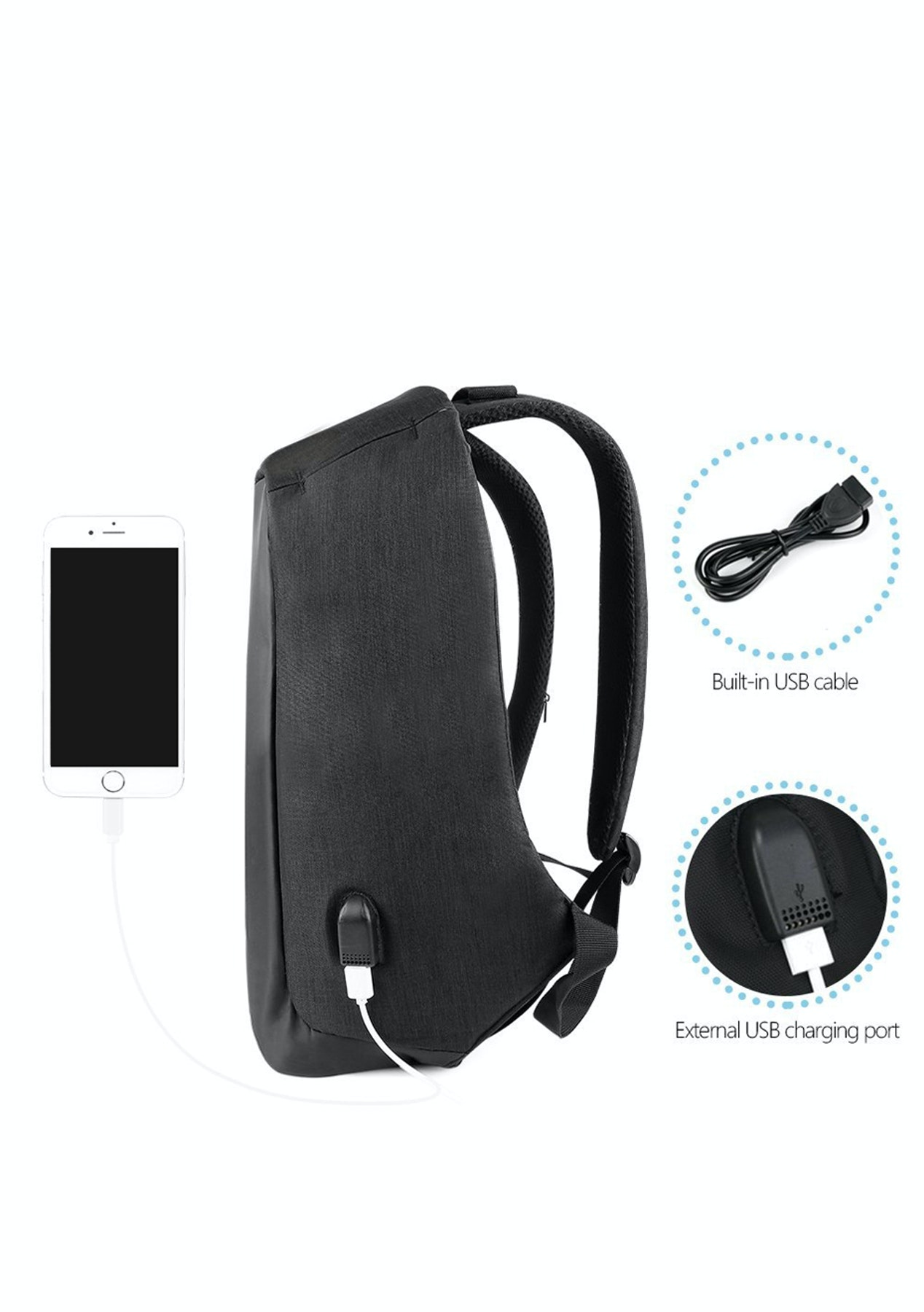 Anti-Theft Lightweight 14 Inch Laptop Backpack - Black