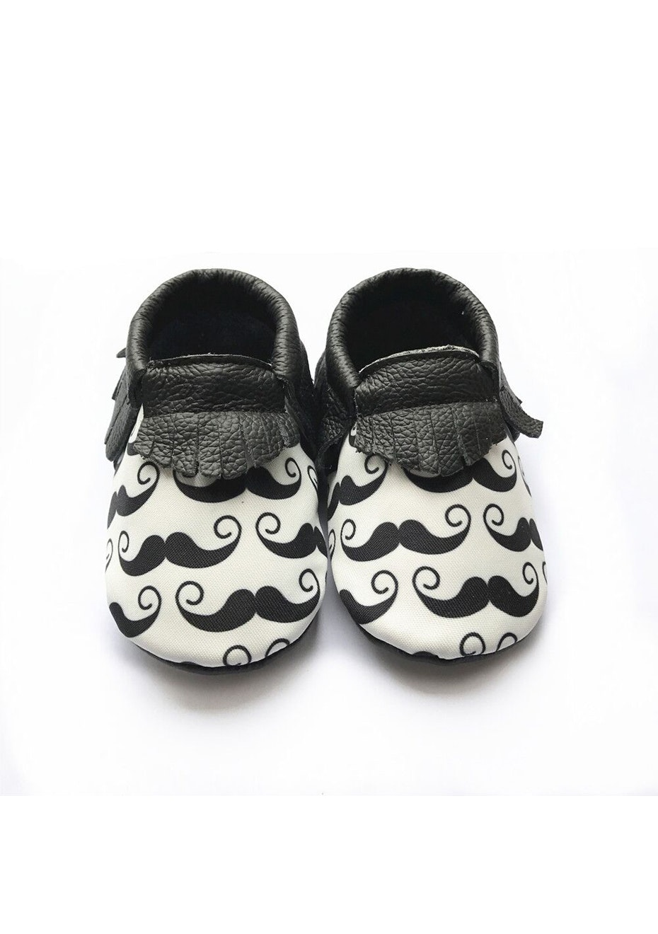Baby  Leather Shoes - Black White Print