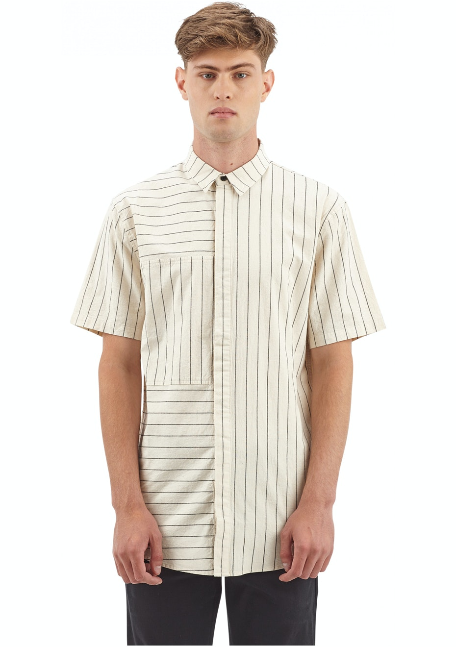 I Love Ugly - SS Panel Stripe Shirt