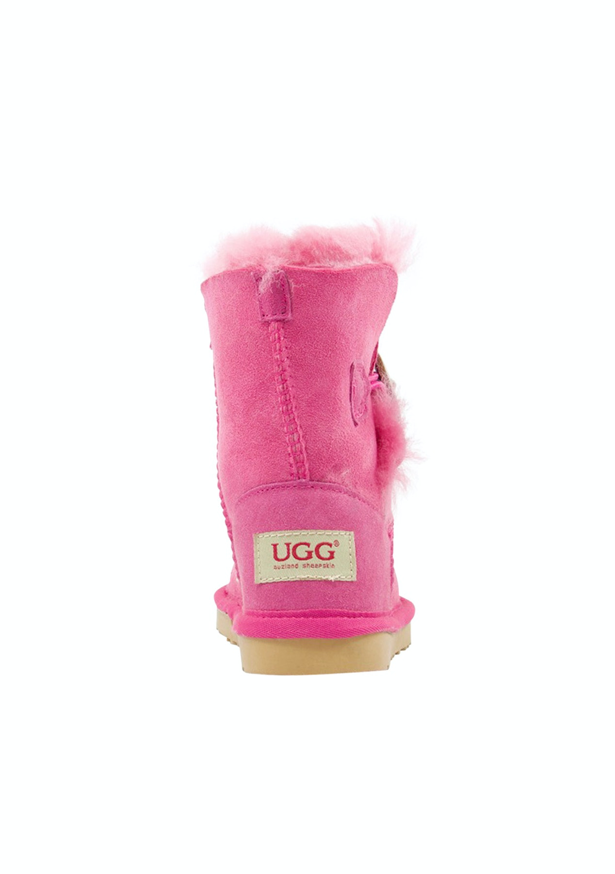 82b0a3e81d1 Auzland Ugg Kids Button Sheepskin Boots Bao Pink