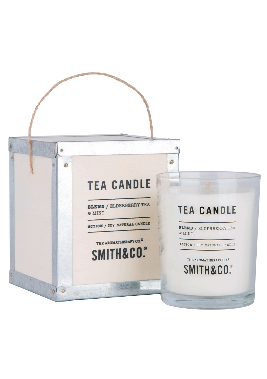 The Aromatherapy Co. Tea Chest Candle  - Elderberry Tea & Mint