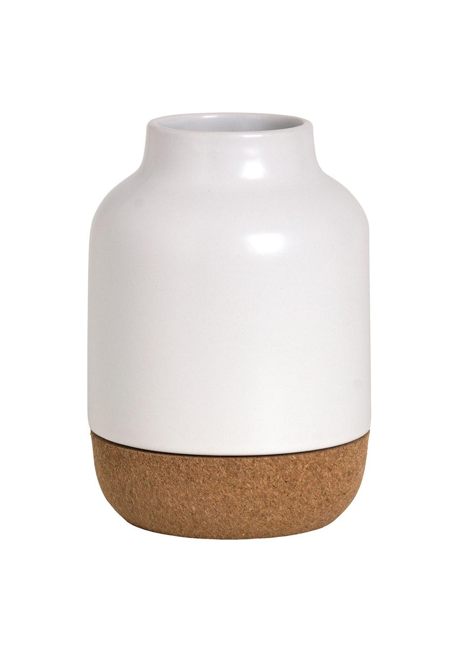 Cork Base Vase - White/Cork
