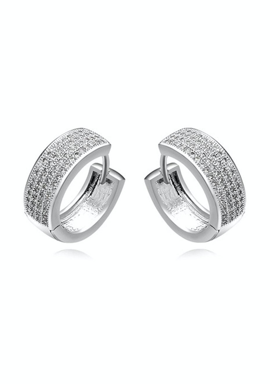 Isidora Hug Earrings Ft Swarovski Elements -WG