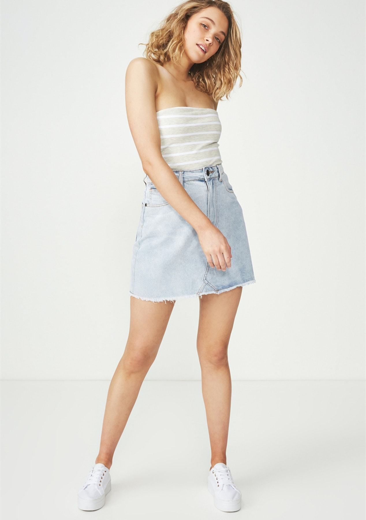 aad194df55a1f3 Cotton On - Everyday Tube Top/Jack Stripe Oat Marle/White - All $7 Basics -  Onceit
