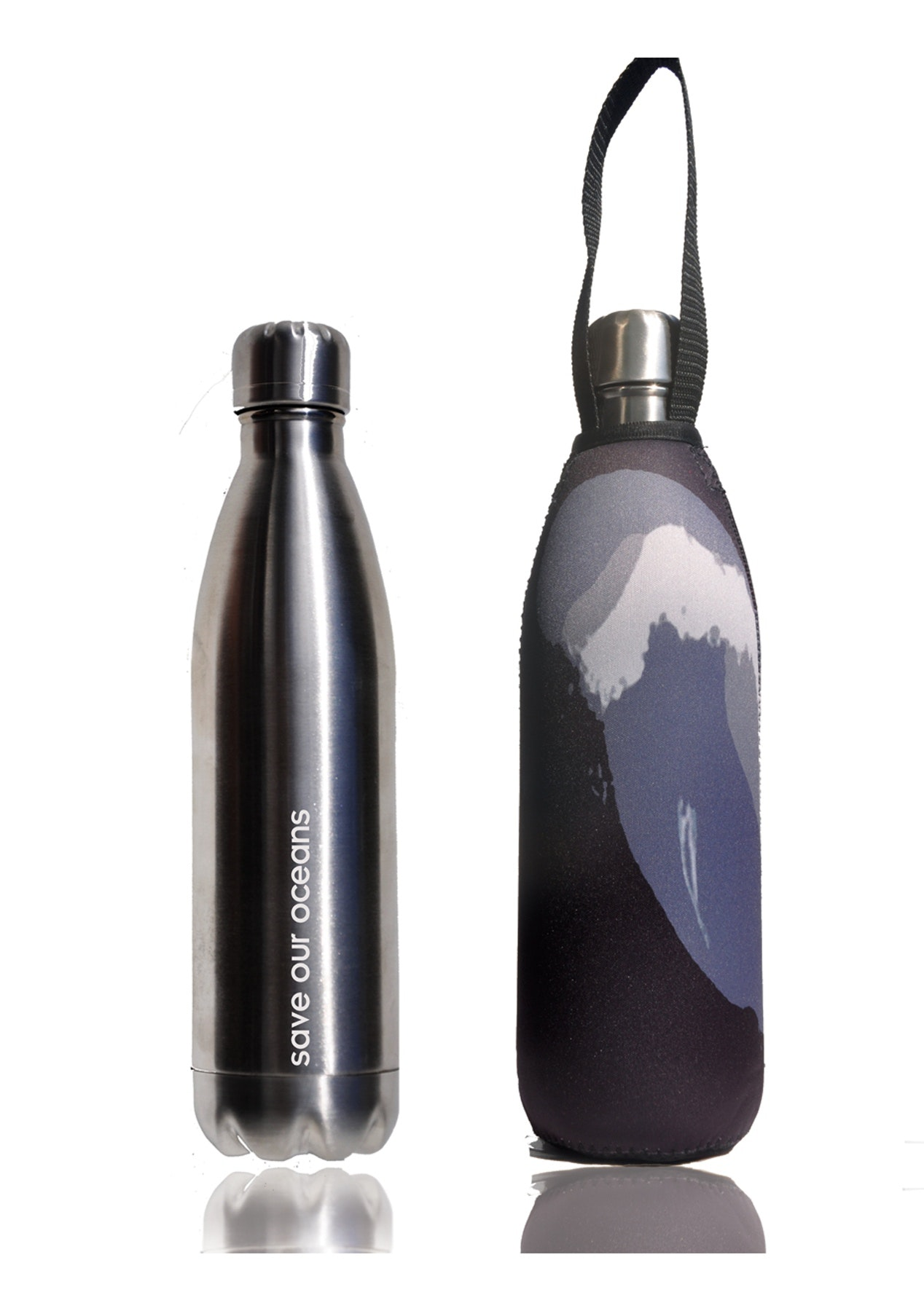 BBBYO - Future Bottle + Carry Cover (Black Wave Print) 1000 ml Silver