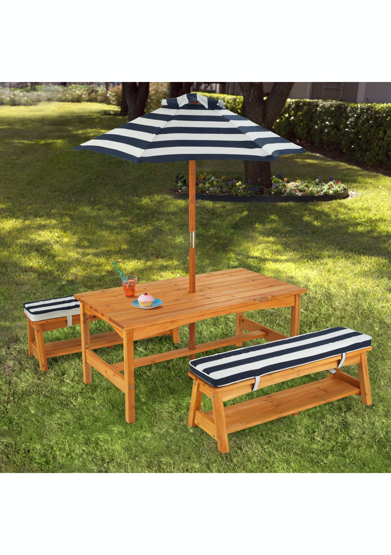 Childrens Outdoor Picnic Table And Bench Seat With Umbrella Gifts