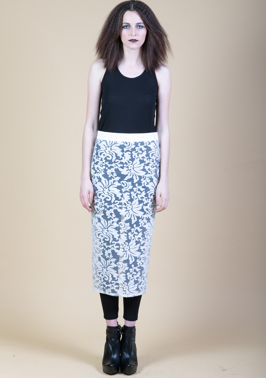 X-Plain - Lace Pencil Skirt - Cast Iron