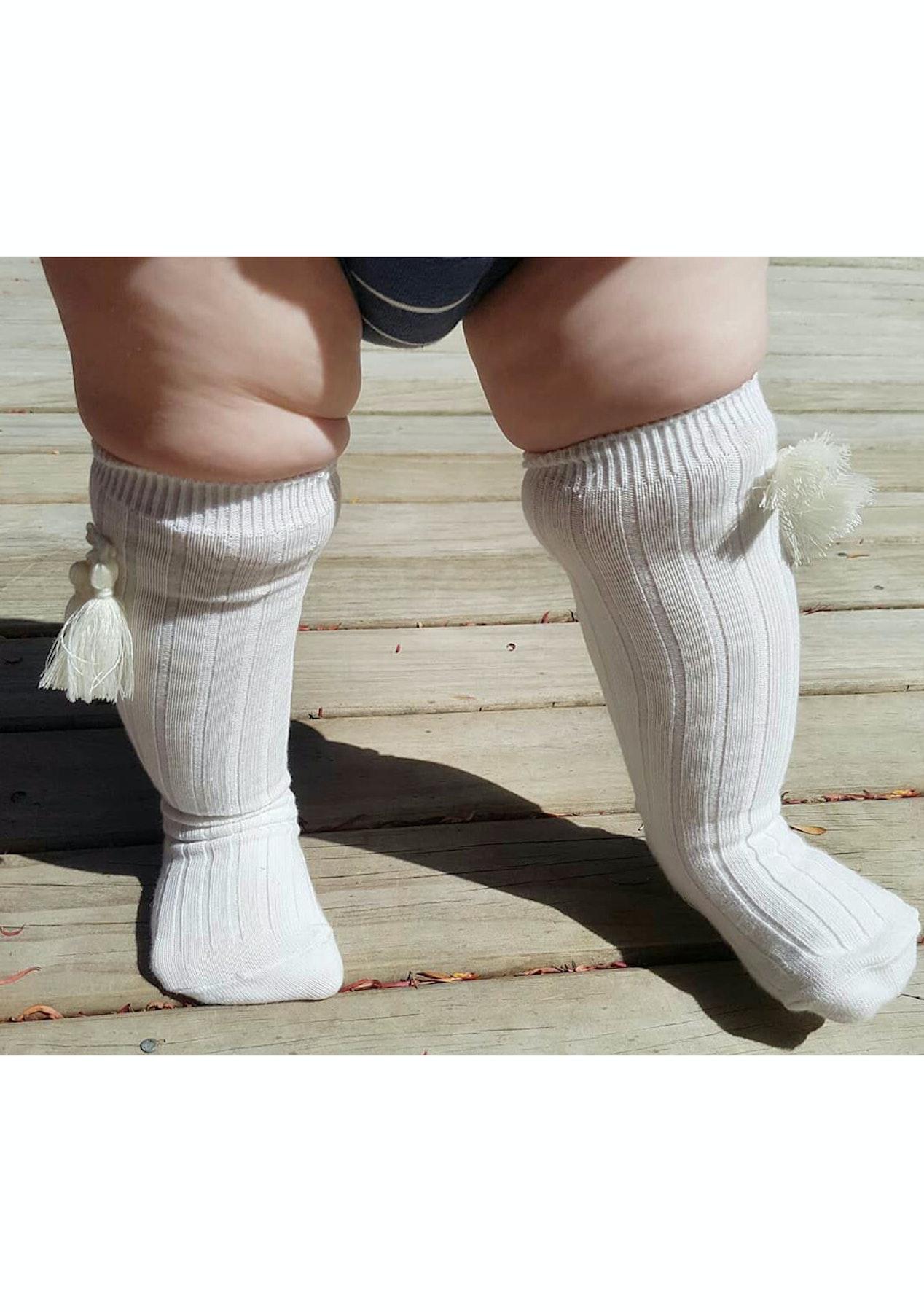 44acd97cb Tassel Socks White   Cream- 2 Pack Bundle - Baby Shower and Nursery Sale -  Onceit