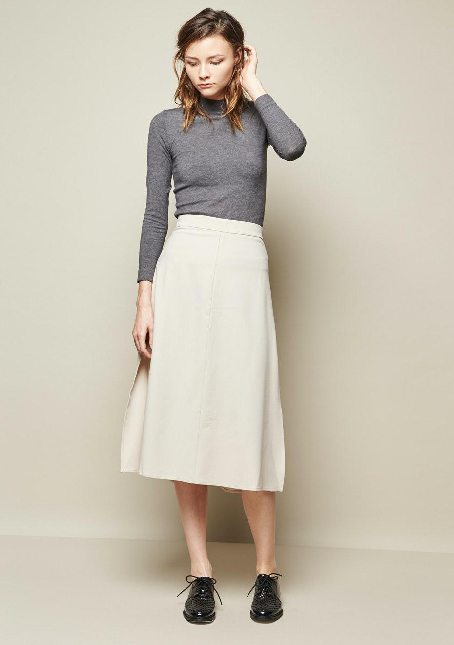 Achro - Wide Sweep A-Line Midi Skirt - Sand
