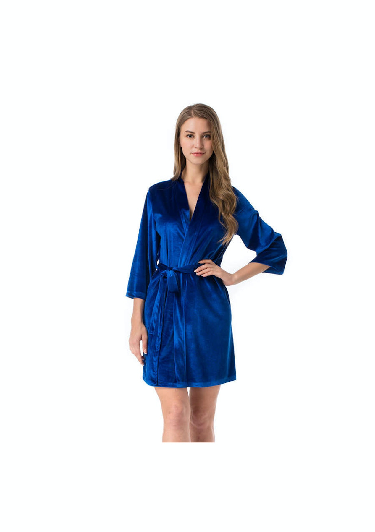 hot products high quality complete range of articles Women Velvet Robe - Blue