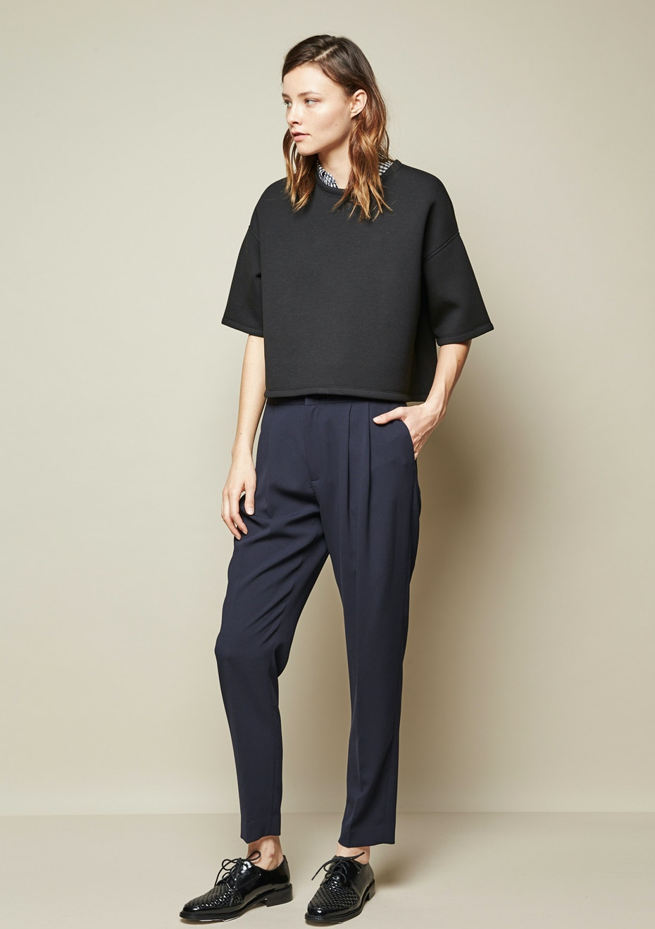 Achro - Pleated Relaxed Pants - Navy