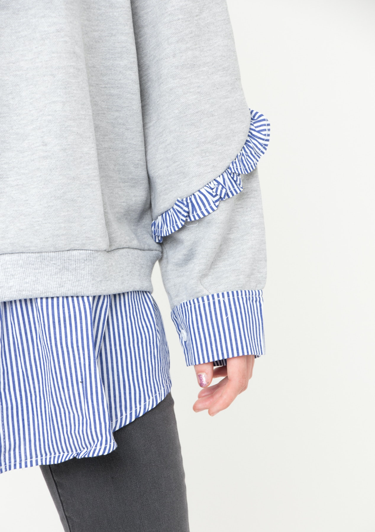 61efb11c585 Lofi Oversized Ruffle Jumper - Marble Grey - Onceit s Gone It s Gone -  Outlet - Onceit