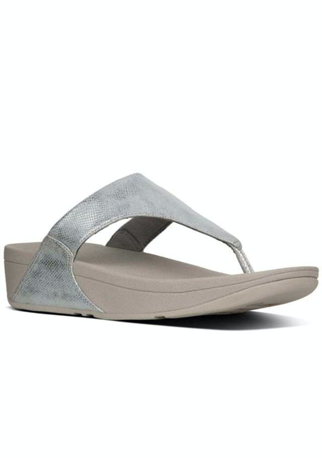 b13d9c888bd Fit Flop - Lulu Toe-Thong Sandals -Silver Shimmer-Print - Fit Flop   More -  Onceit