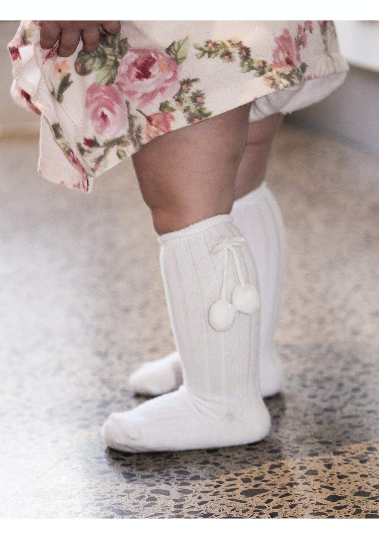 82f816666 Pom Pom Socks White - 2 Pack Bundle - Baby Shower and Nursery Sale - Onceit
