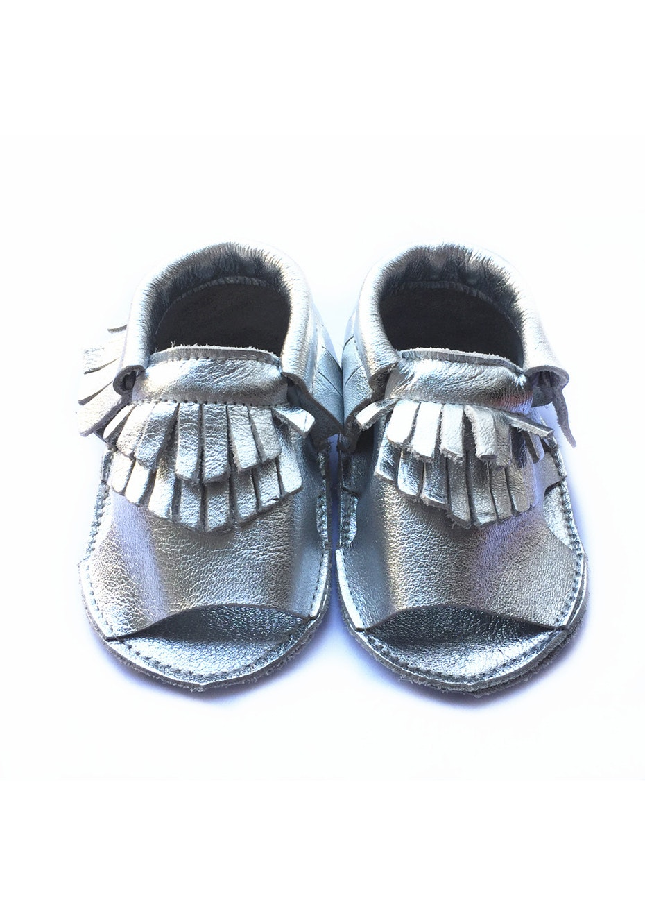 Baby  Leather Sandals - Metallic Silver