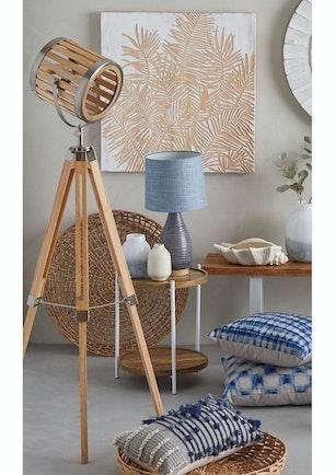 Amalfi Roland Floor Lamp Natural Pine Satin Nickel
