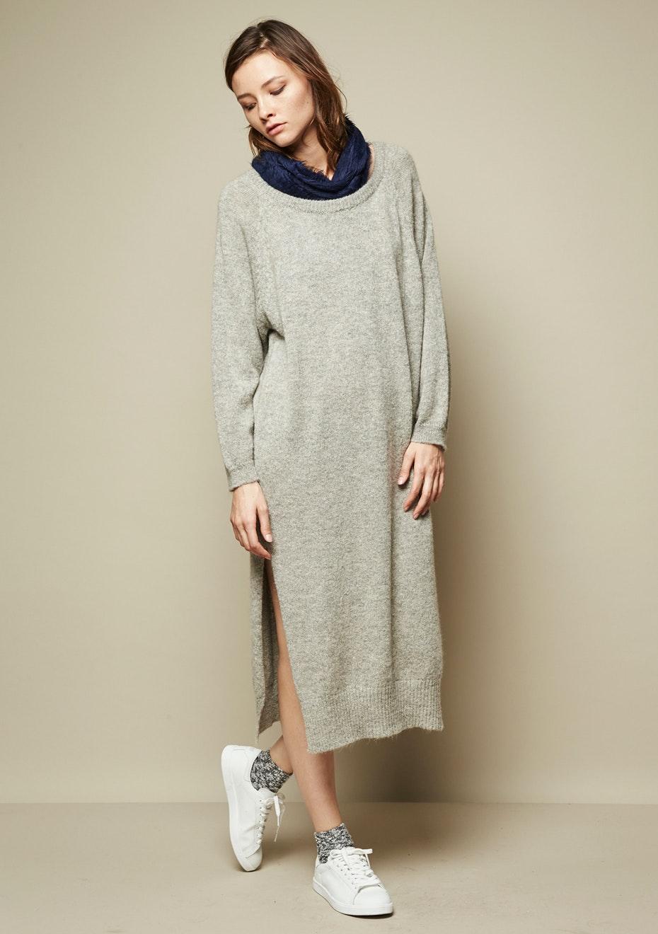 Achro - Side Slit Sweater Dress - Grey