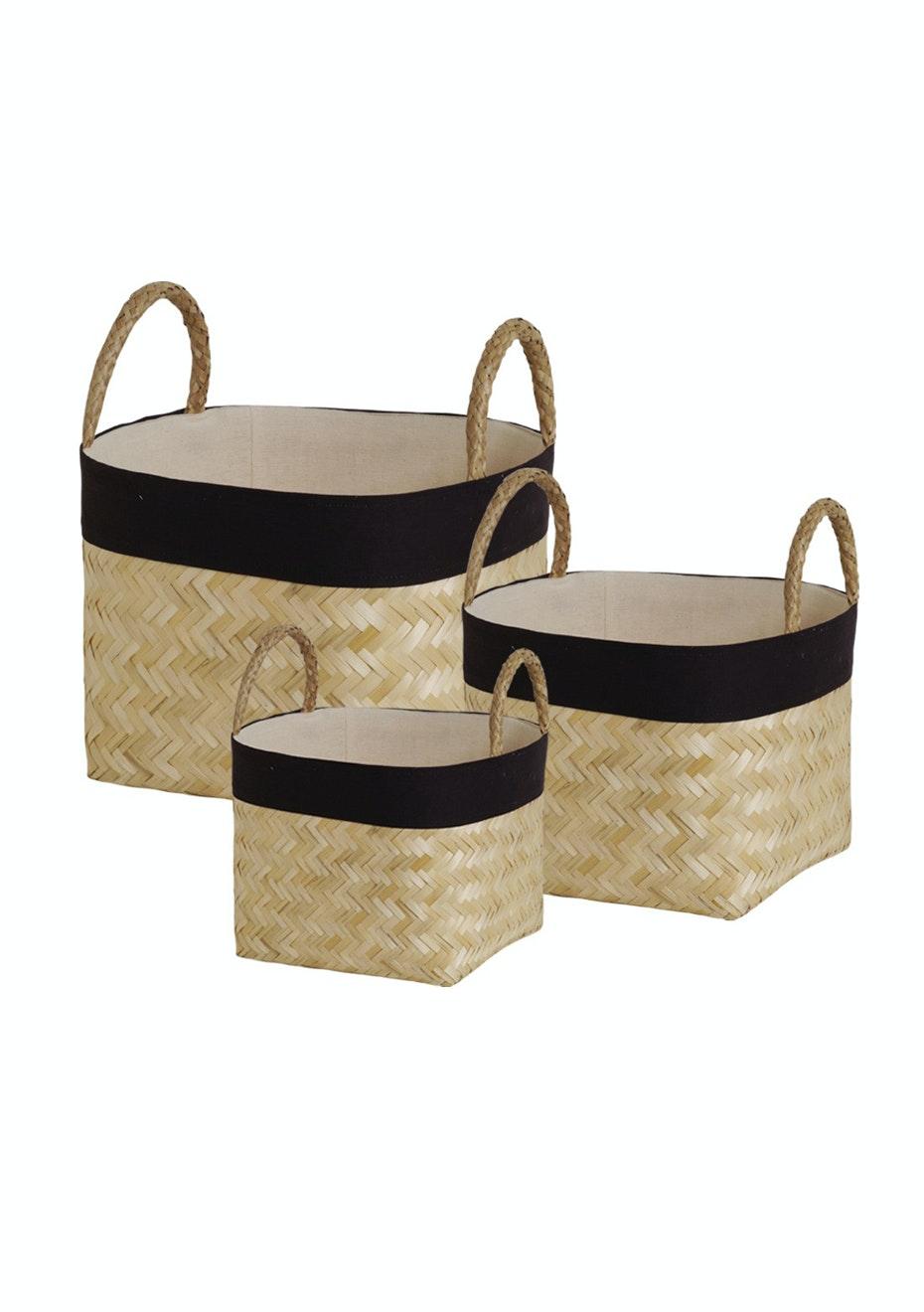 Jason - Natural Contrast Trim Baskets - Set of 3